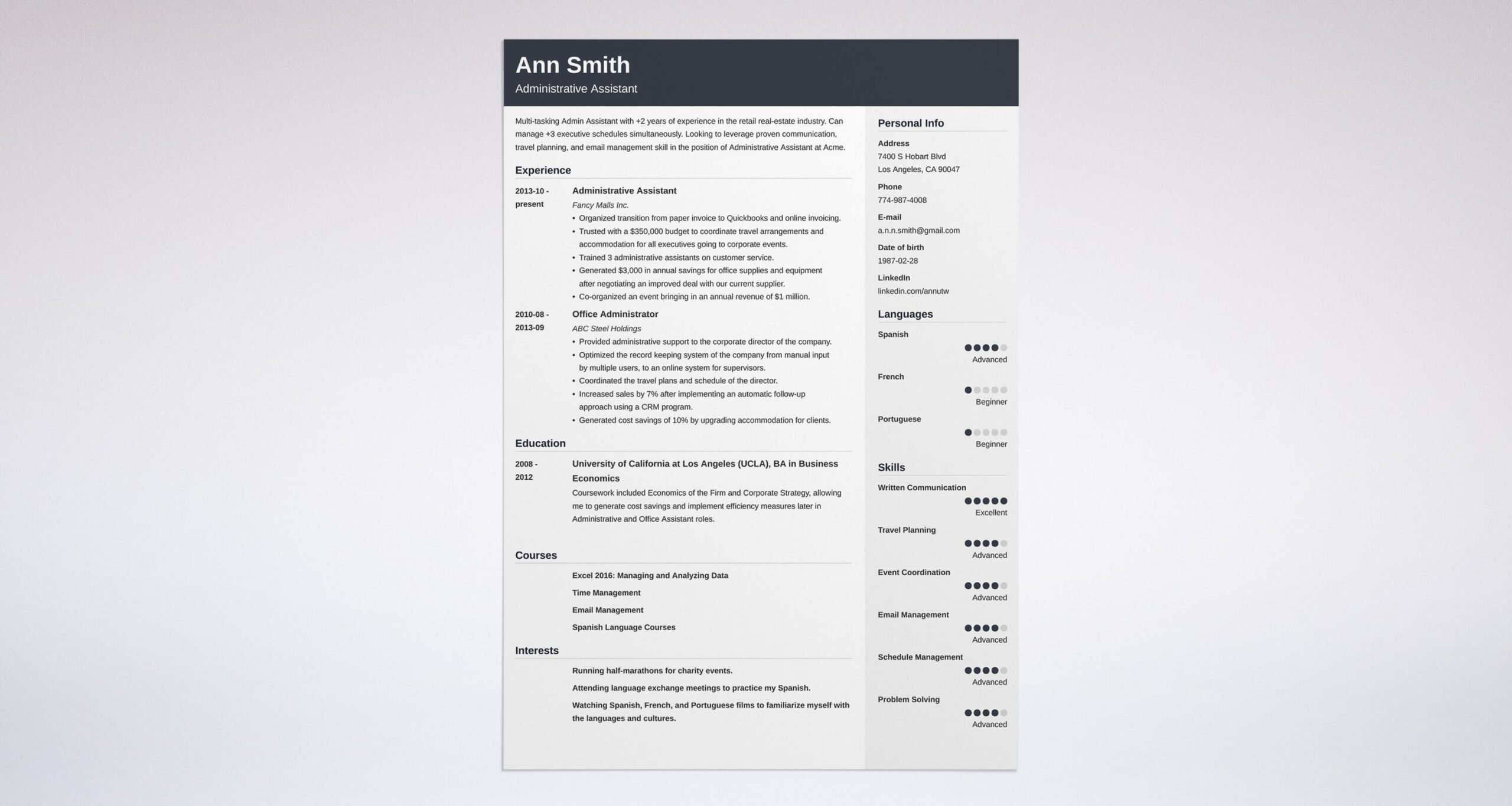best administrative assistant resume examples example size format for automobile industry Resume Administrative Assistant Resume 2020