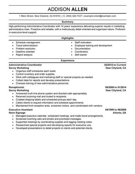 best administrative coordinator resume example livecareer clinical office support Resume Clinical Administrative Coordinator Resume