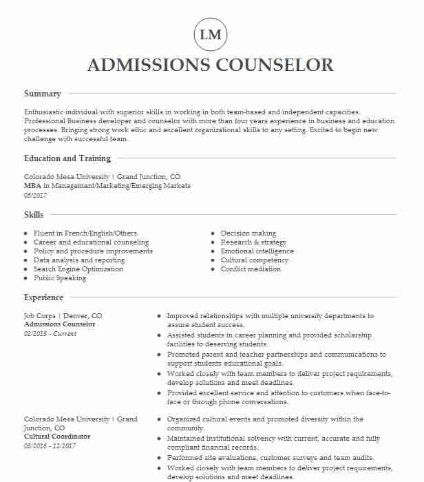 best admissions counselor resume example livecareer admission elementary teacher skills Resume Admission Counselor Resume