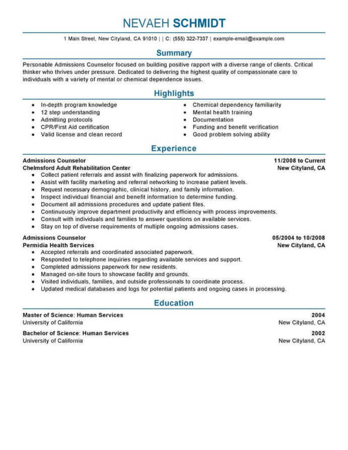 best admissions counselor resume example livecareer admission social services Resume Admission Counselor Resume