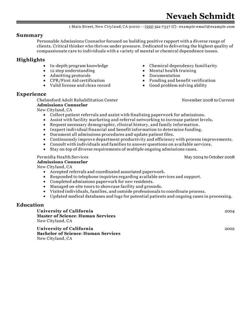 best admissions counselor resume example livecareer admission social services classic the Resume Admission Counselor Resume