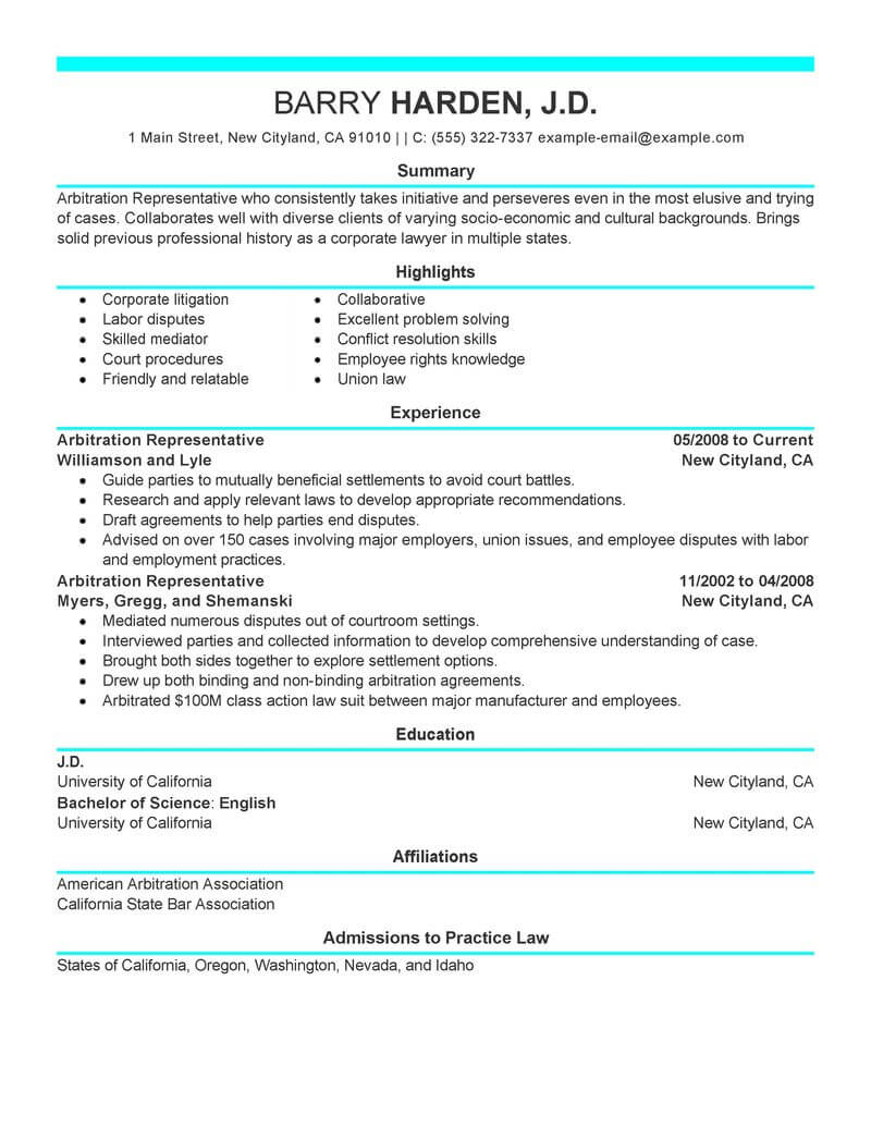 best arbitration representative resume example livecareer conflict resolution legal Resume Resume Conflict Resolution