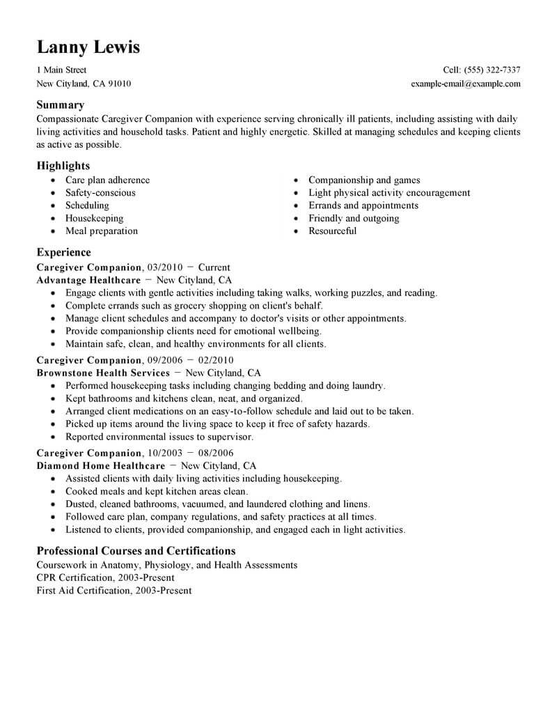 best caregivers companions resume example livecareer for home caregiver wellness standard Resume Resume For Home Caregiver