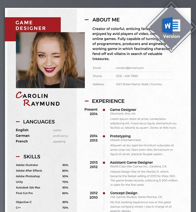 best creative resume cv templates printable free dynamic game designer template Resume Free Dynamic Resume Templates