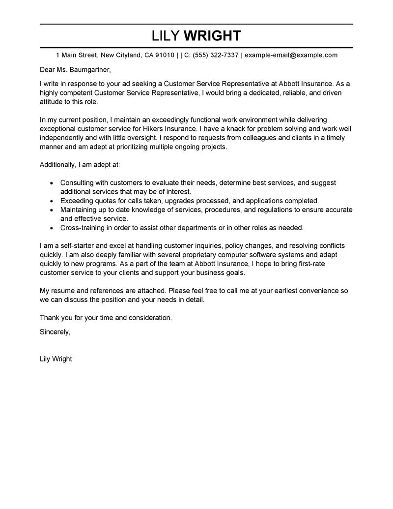 best customer service representative cover letter examples livecareer resume and services Resume Resume And Cover Letter Services Toronto