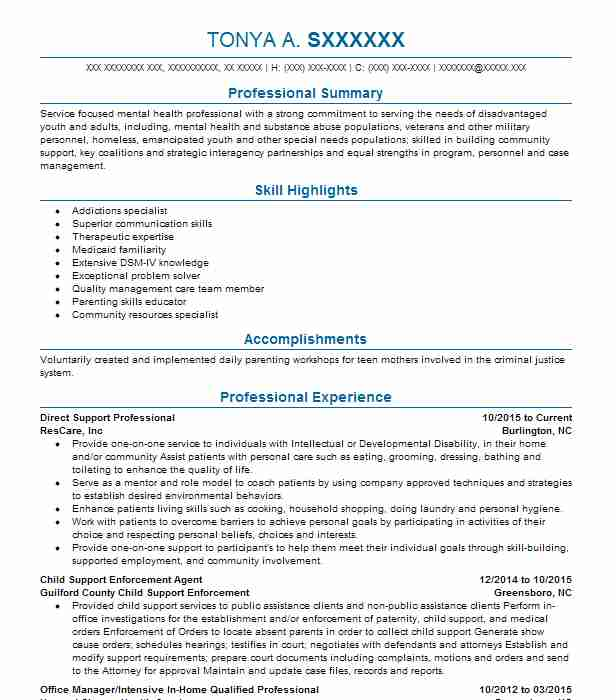 best direct support professional resume example livecareer care objective good headline Resume Direct Care Resume Objective