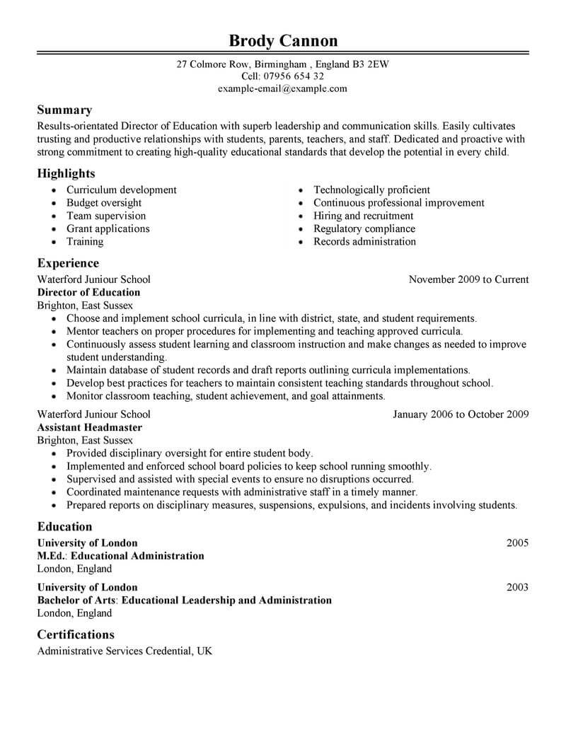 best director resume example livecareer samples education classic hvac objective Resume Director Resume Samples