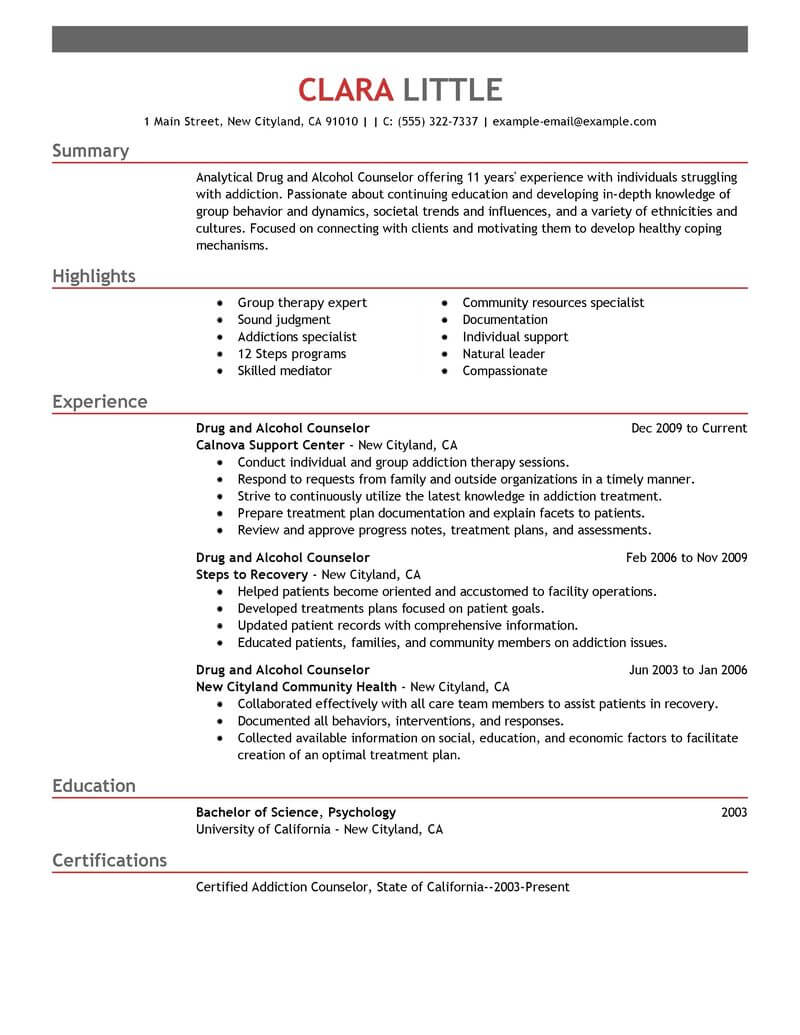 best drug and alcohol counselor resume example livecareer entry level substance abuse Resume Entry Level Substance Abuse Counselor Resume
