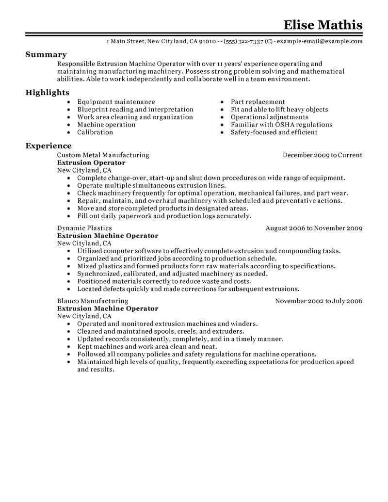 best extrusion operator resume example livecareer process warehouse production classic Resume Process Operator Resume