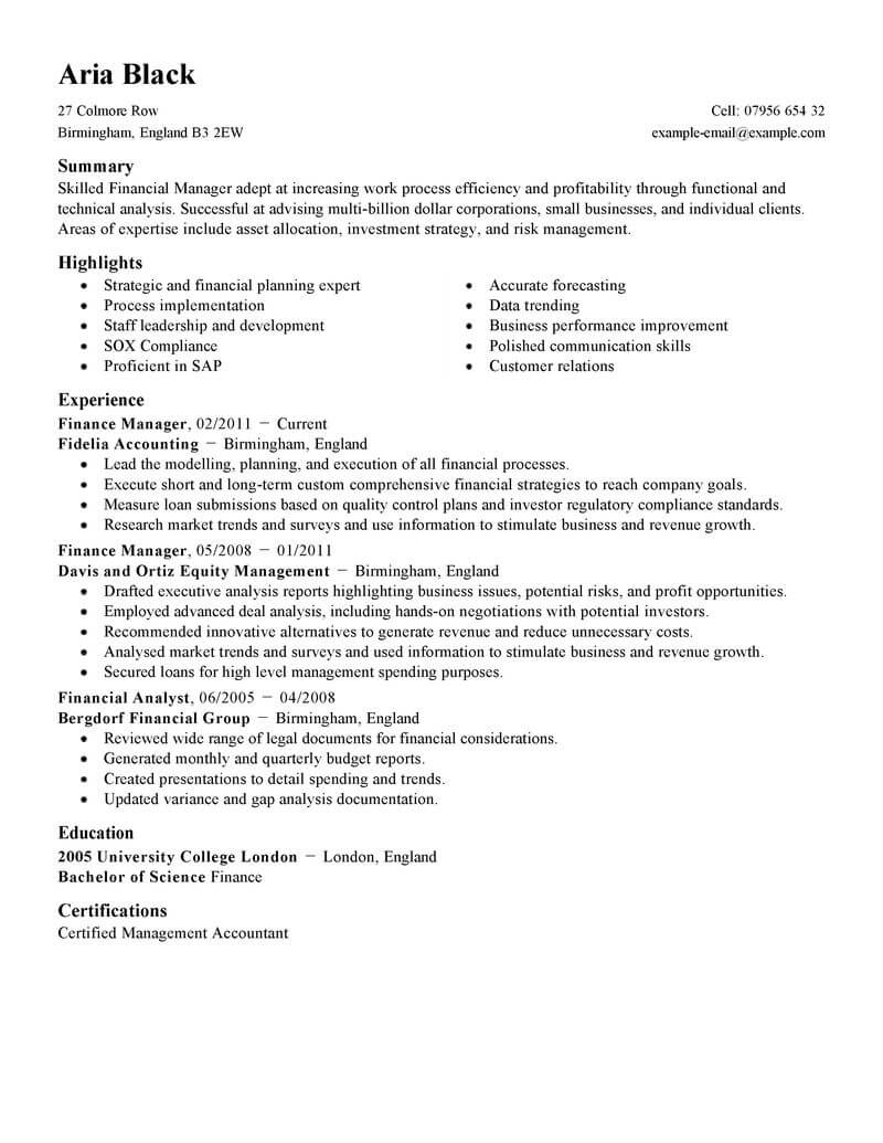 best finance manager resume example livecareer executive summary standard student Resume Finance Executive Resume Summary