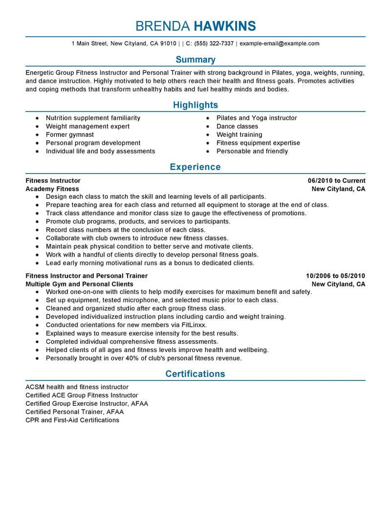 best fitness and personal trainer resume example livecareer care services professional Resume Personal Trainer Resume Example