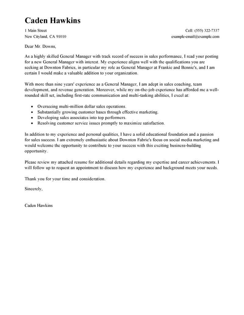 best general manager cover letter examples livecareer resume generic standard 800x1035 Resume Resume Cover Letter Generic