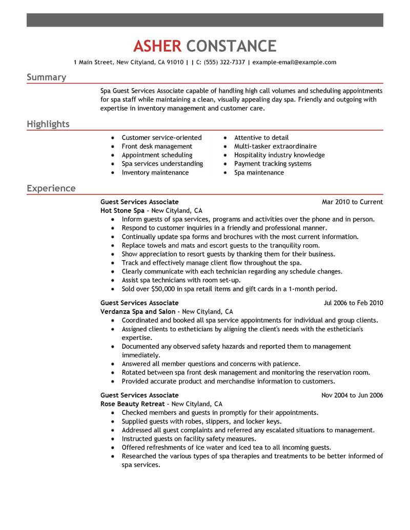 best guest service associate resume example from professional writing customer support Resume Customer Support Associate Resume