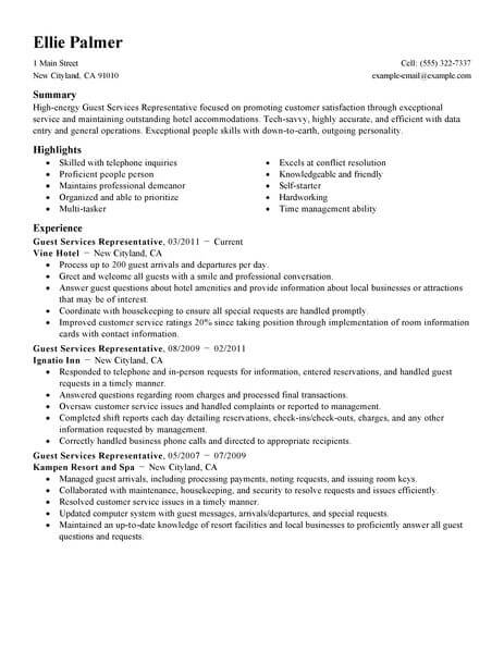 best guest service representative resume example livecareer services sample hotel Resume Guest Services Resume Sample
