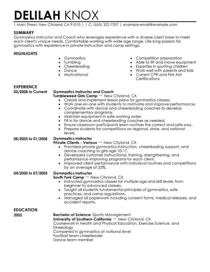 best gymnastics instructor resume example livecareer objective for sports wellness Resume Objective For Sports Resume
