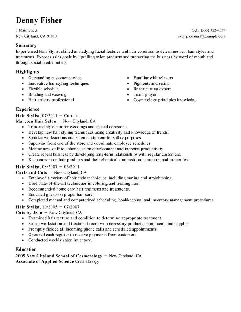 best hair stylist resume example livecareer template personal care services standard or Resume Hair Stylist Resume Template