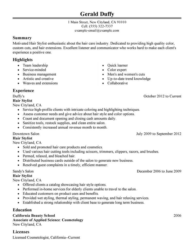 best hair stylist resume example livecareer template salon spa fitness classic cpa Resume Hair Stylist Resume Template