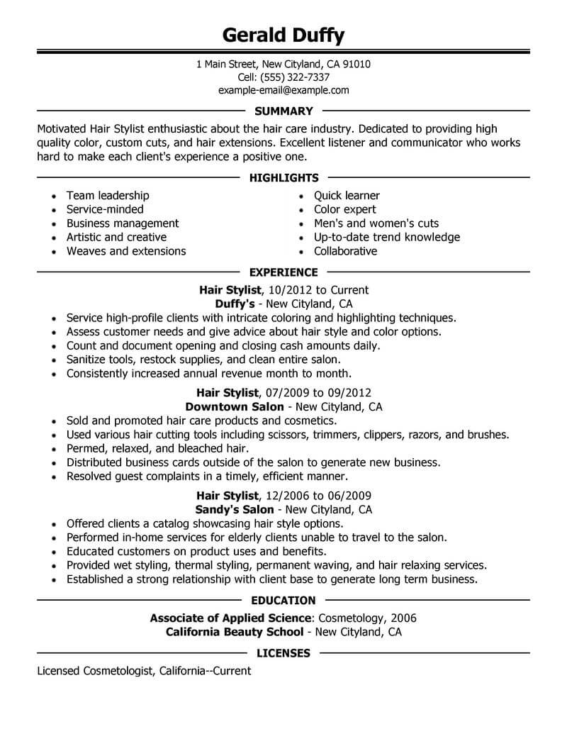 best hair stylist resume example livecareer template salon spa fitness executive format Resume Hair Stylist Resume Template