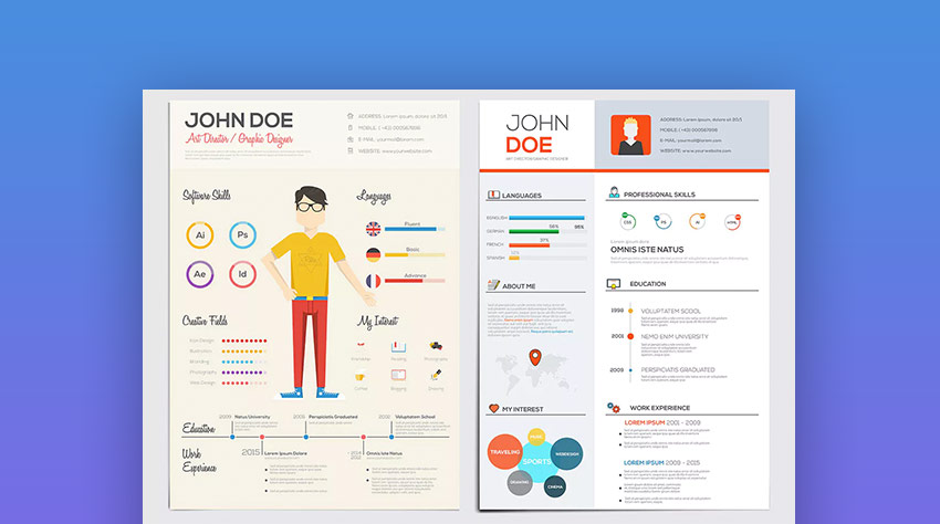 best infographic resume cv templates creative examples for pictorial flat style template Resume Pictorial Resume Templates