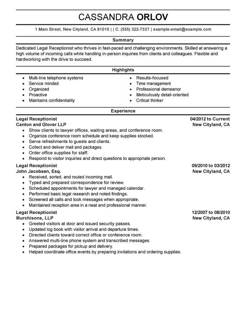 best legal receptionist resume example livecareer objective statement professional Resume Receptionist Resume Objective Statement