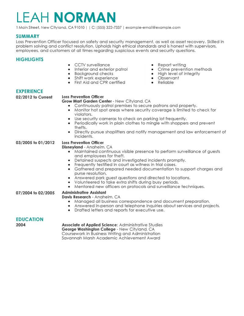 best loss prevention officer resume example livecareer security field emergency services Resume Security Field Officer Resume