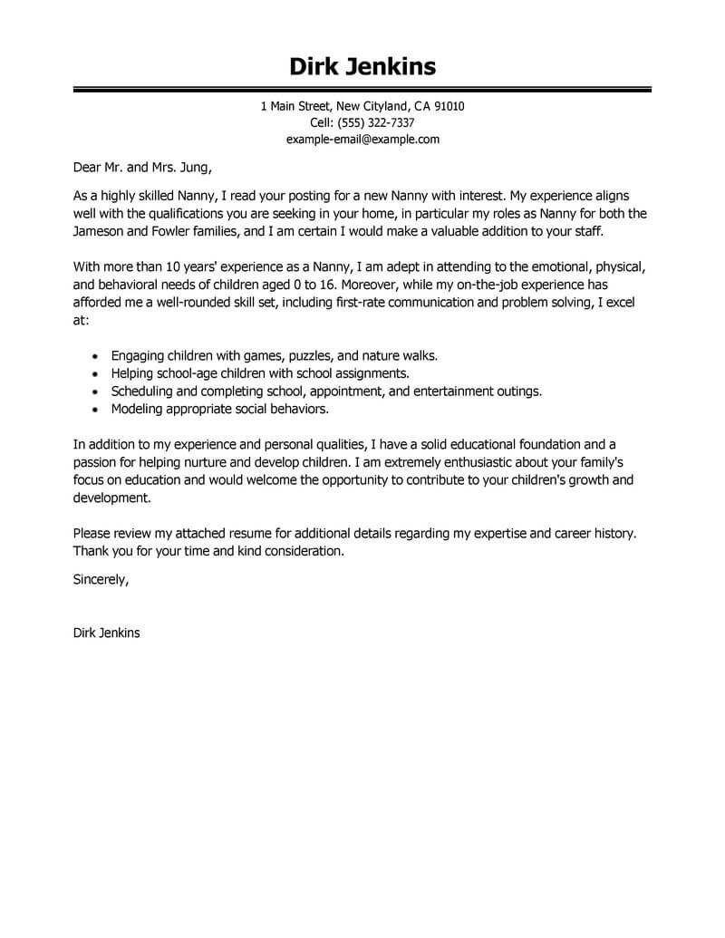 best nanny cover letter examples livecareer for resume personal care services executive Resume Cover Letter For Nanny Resume