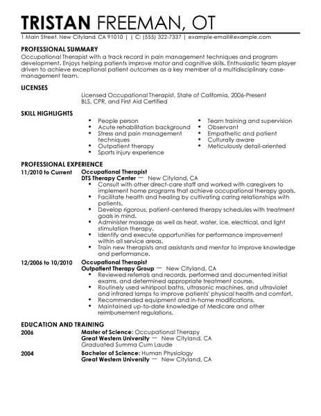 best occupational therapist resume example livecareer examples healthcare contemporary Resume Resume Examples Occupational Therapist