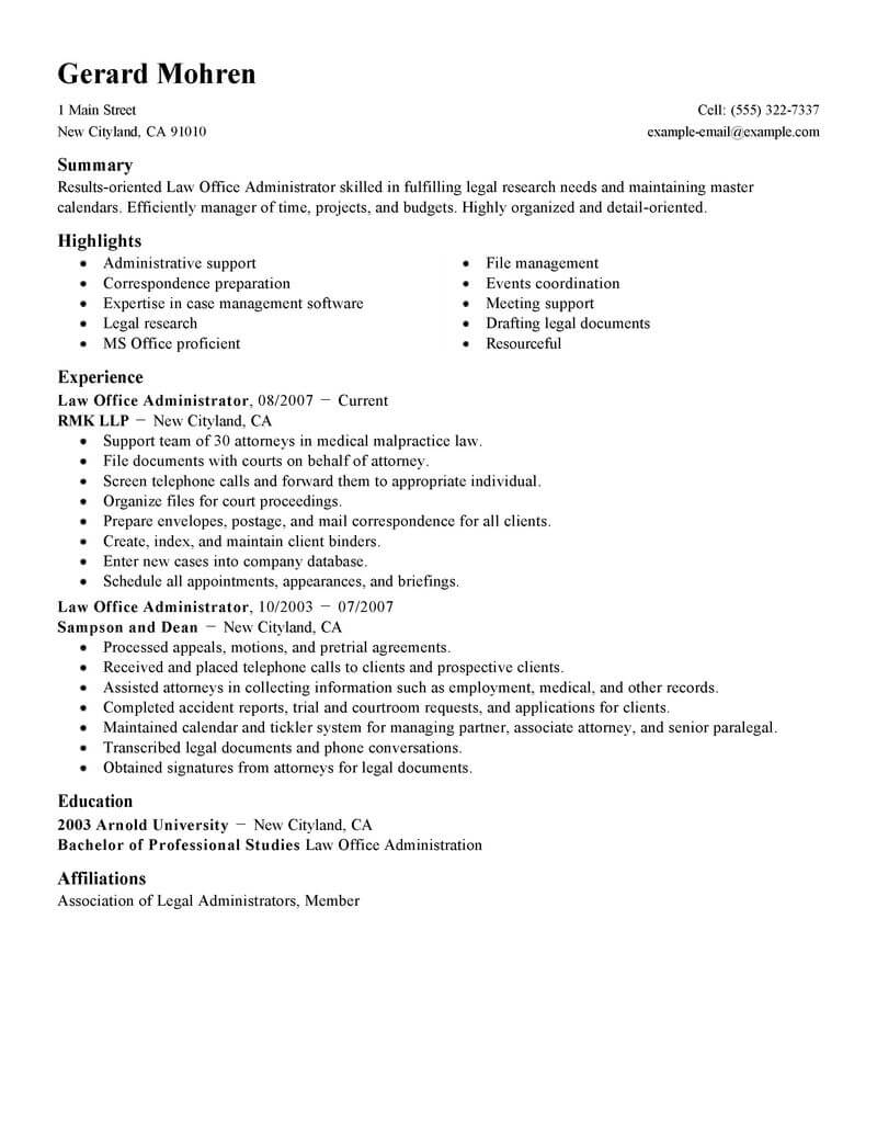 best office administrator resume example livecareer manager legal standard mail format Resume Office Manager Resume Example