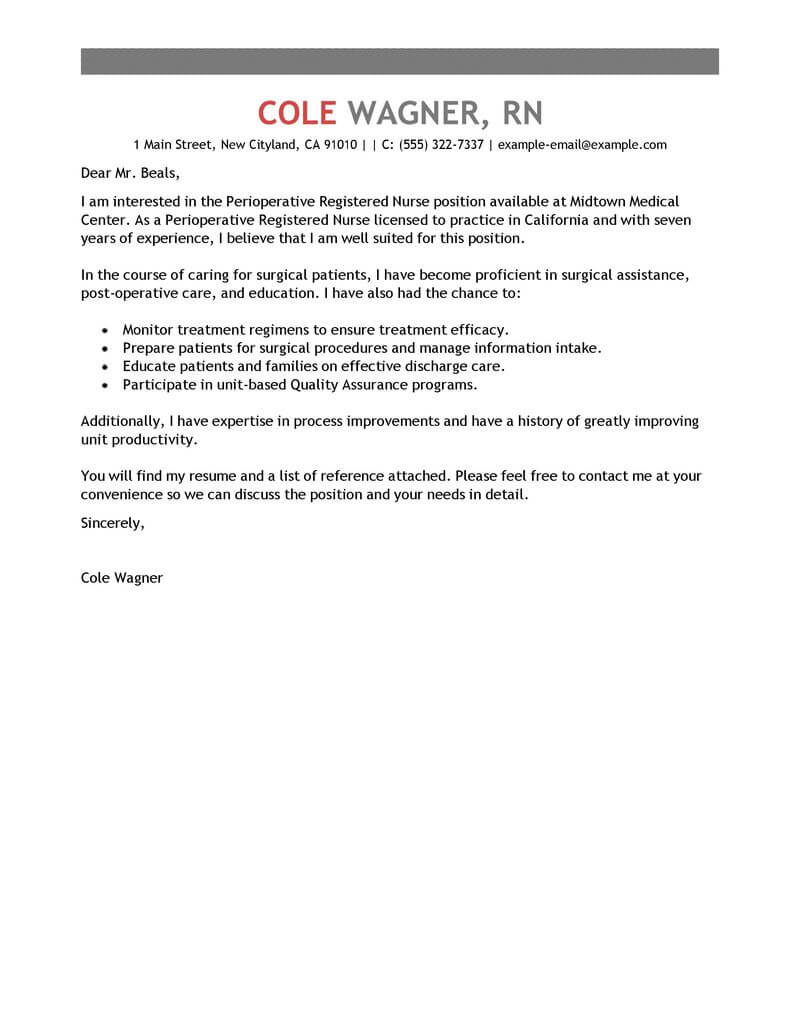 best perioperative nurse cover letter examples livecareer for rn resume healthcare Resume Cover Letter For Rn Resume