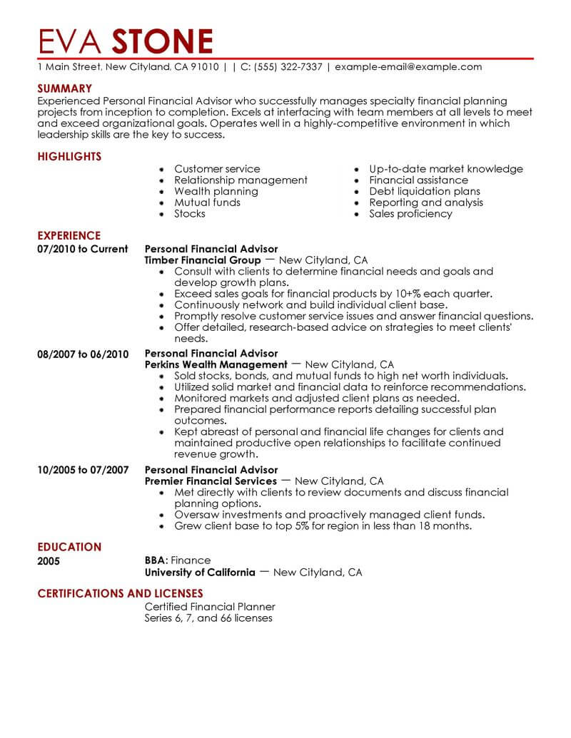 best personal financial advisor resume example livecareer bank finance contemporary worst Resume Bank Financial Advisor Resume