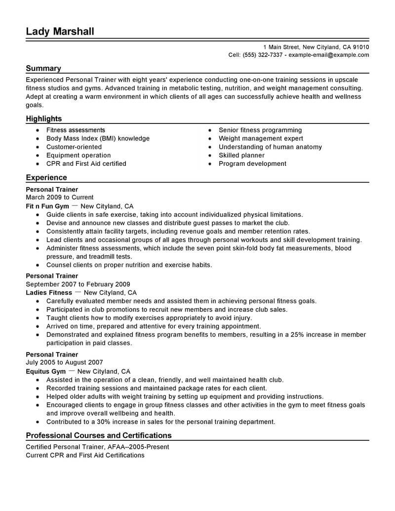 best personal trainer resume example from professional writing service for summer job Resume Personal Trainer Resume Example