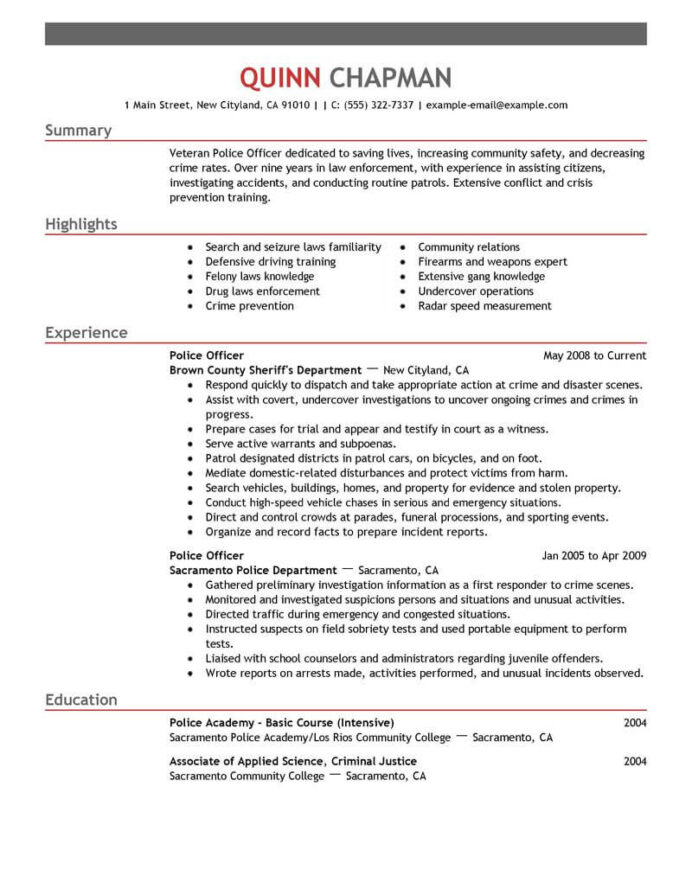 best police officer resume example livecareer for application emergency services emphasis Resume Resume For Police Application