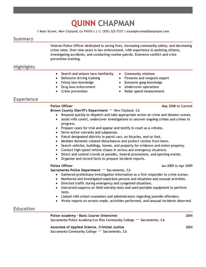 best police officer resume example livecareer law enforcement emergency services emphasis Resume Law Enforcement Police Officer Resume