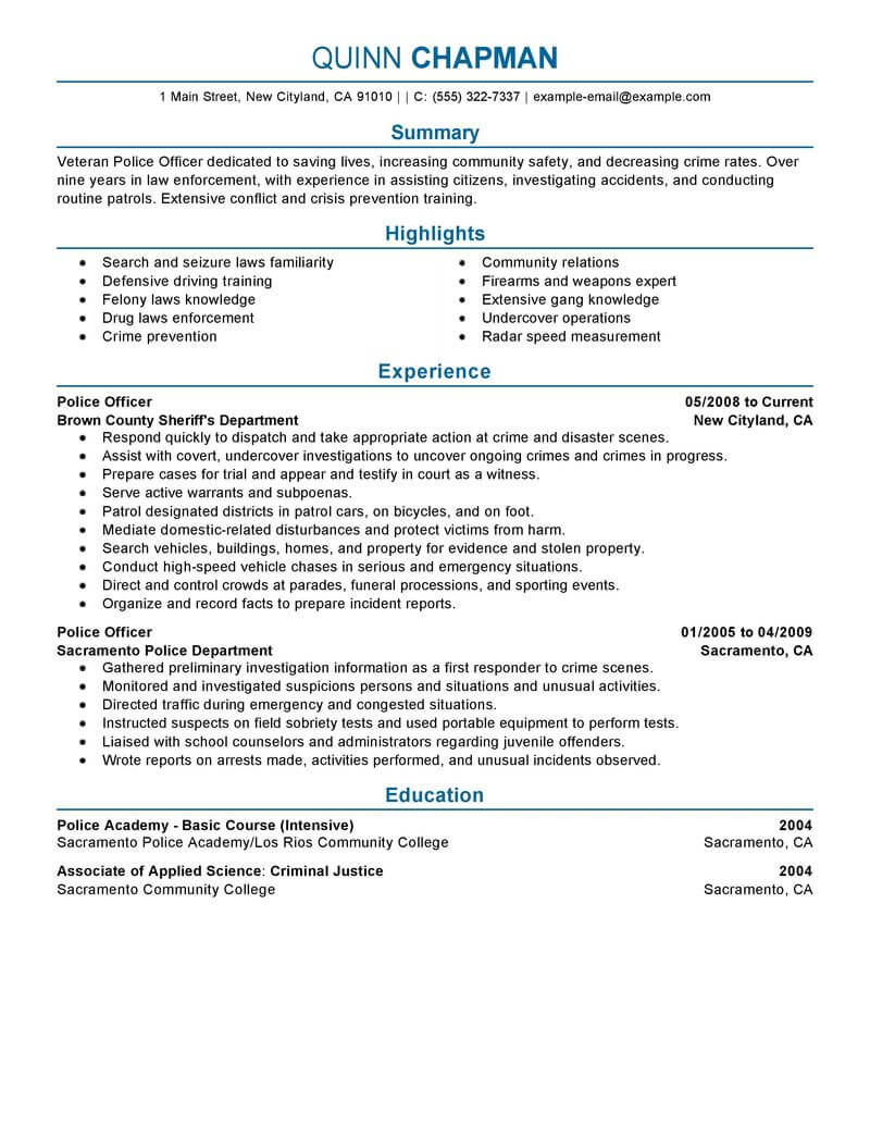 best police officer resume example livecareer law enforcement emergency services Resume Law Enforcement Police Officer Resume