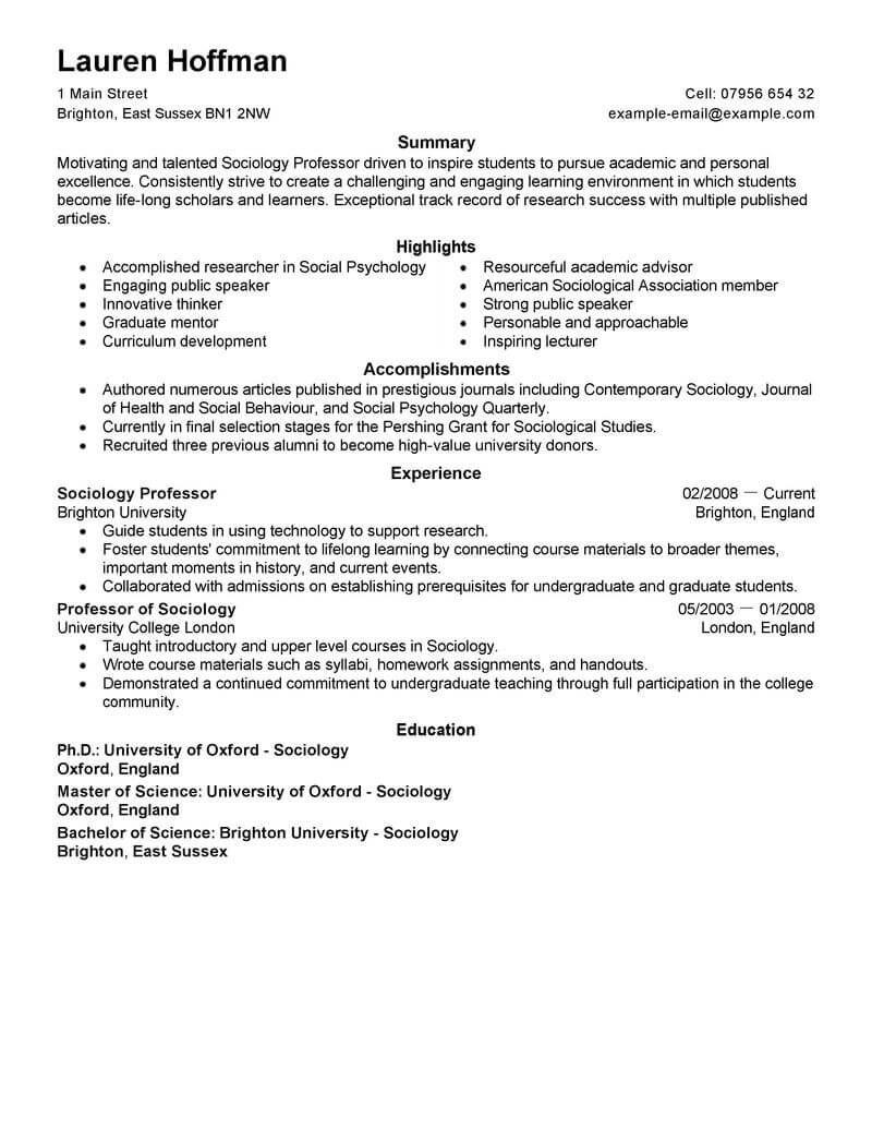 best professor resume example livecareer sample for position education space saver Resume Sample Resume For Professor Position