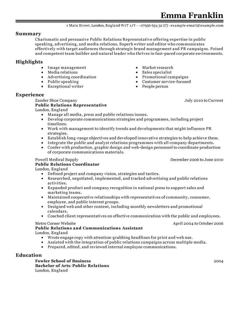 best public relations resume example livecareer skills marketing classic entry level Resume Public Relations Skills Resume