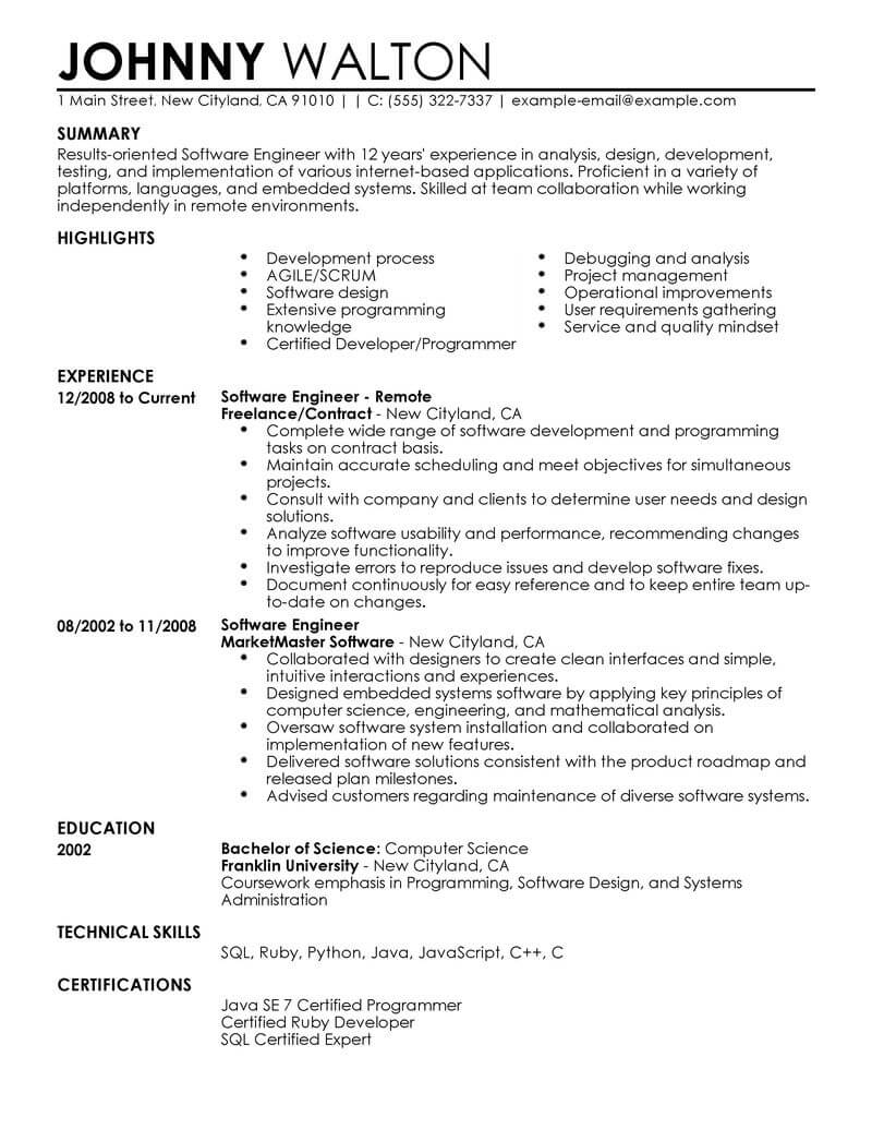 best remote software engineer resume example livecareer engineering format computers Resume Engineering Resume Format
