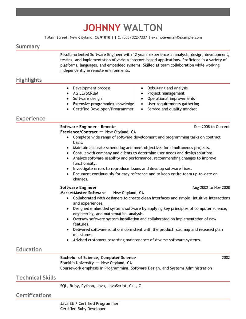 best remote software engineer resume example livecareer examples for computers technology Resume Best Resume Examples For Software Engineer