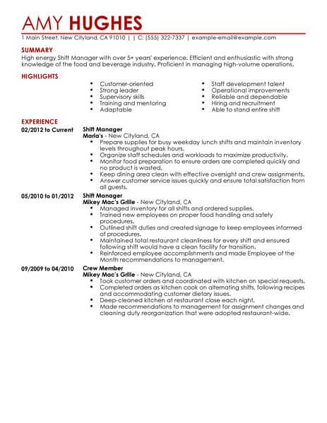 best restaurant shift manager resume example livecareer fast food contemporary 463x600 Resume Fast Food Manager Resume