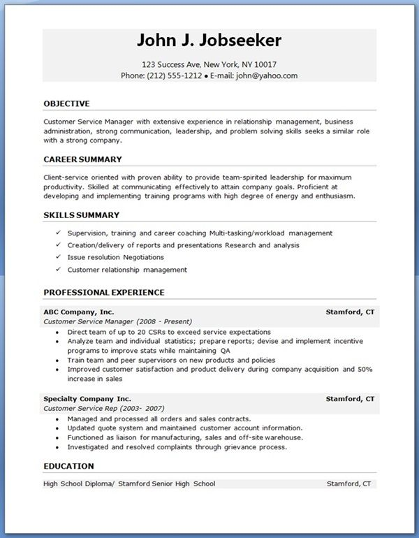 best resume layout professional outline customer service experience sample nice looking Resume Professional Resume Outline