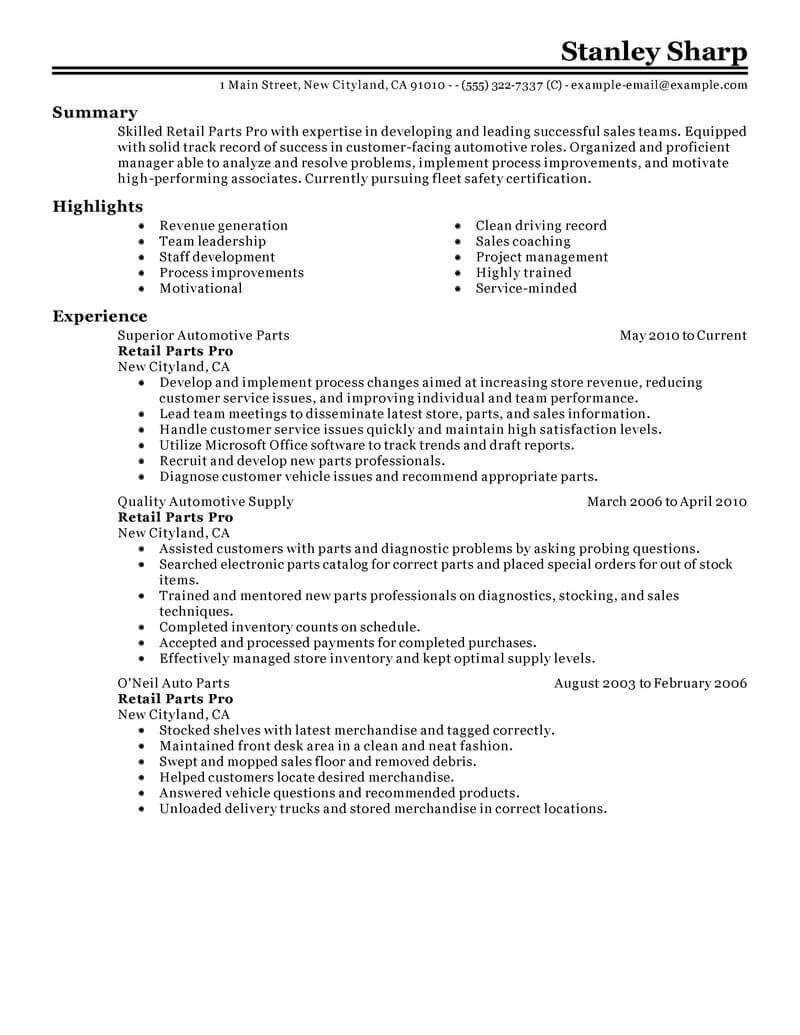 best retail parts pro resume example from professional writing service of boosters need Resume Parts Of A Professional Resume
