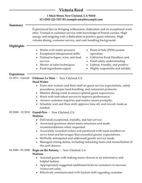 best server resume example livecareer duties and responsibilities for food restaurant Resume Server Duties And Responsibilities For Resume
