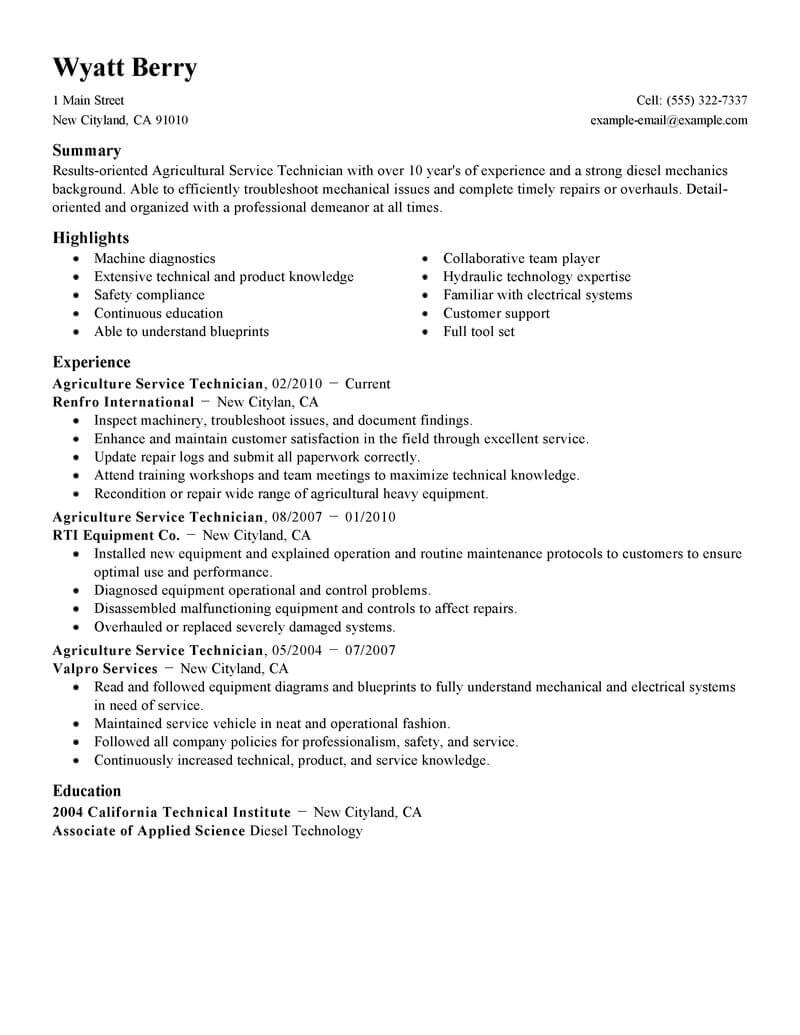 best service technician resume example livecareer professional services agriculture Resume Professional Resume Services