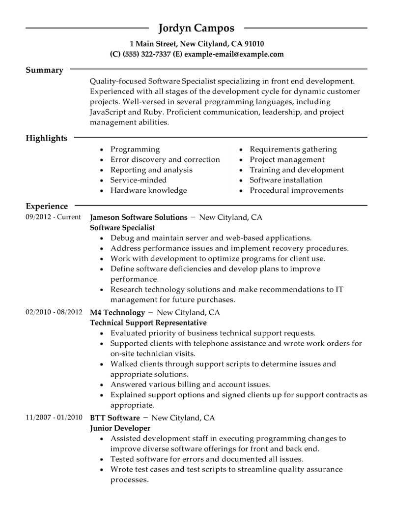 best software specialist resume example livecareer proficient with computers technology Resume Proficient With Computers Resume