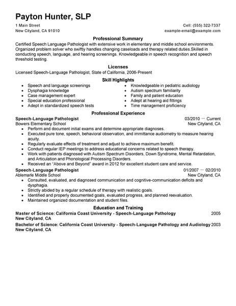 best speech language pathologist resume example livecareer listing languages on Resume Listing Languages On A Resume