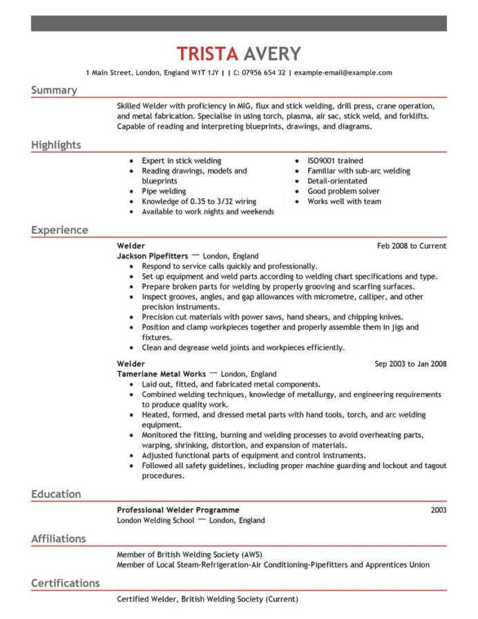 best welder resume example livecareer examples samples construction empasis for account Resume Livecareer Resume Writing Reviews