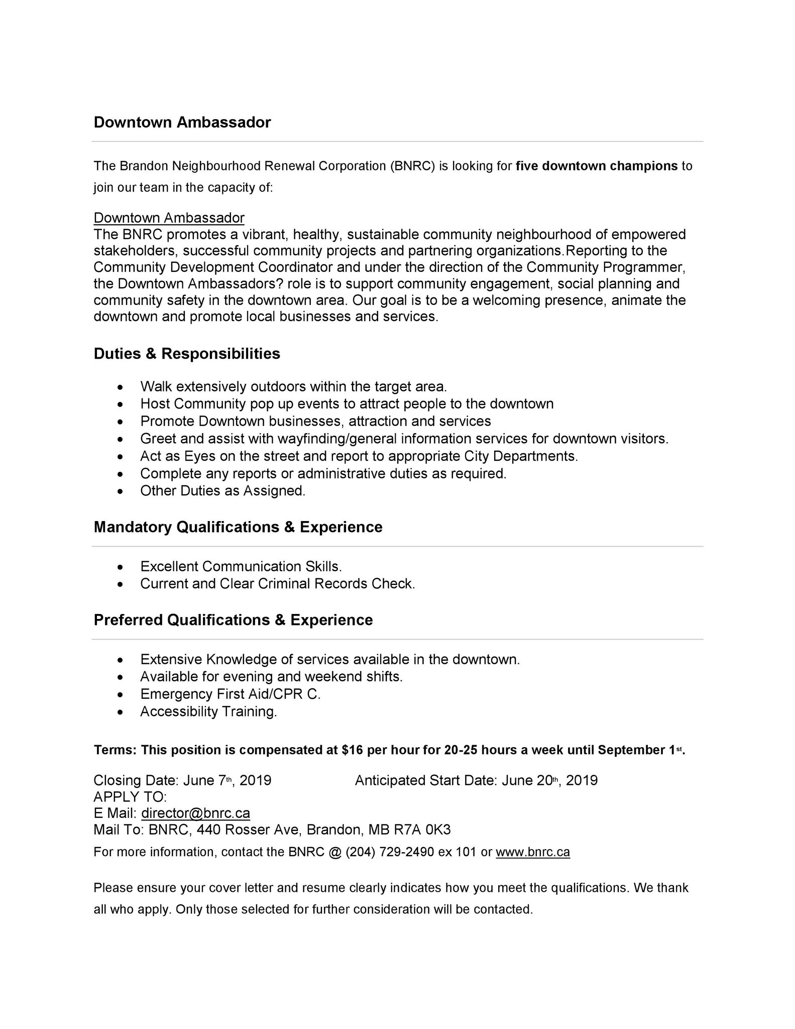 brandon neighbourhood renewal corporation on the bnrc is looking for downtown ambassador Resume Resume Services Brandon Mb
