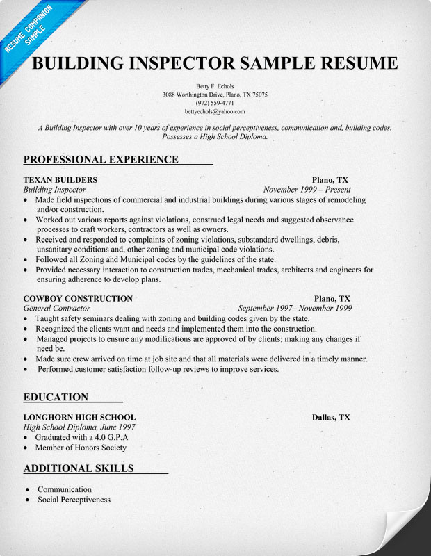 building inspector cv january resume objective examples sample benefits specialist Resume Inspector Resume Objective Examples