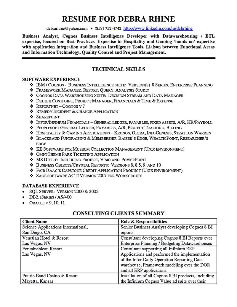 business analyst resume describes the skills and expertise of intelligence information Resume Information Technology Business Analyst Resume Sample