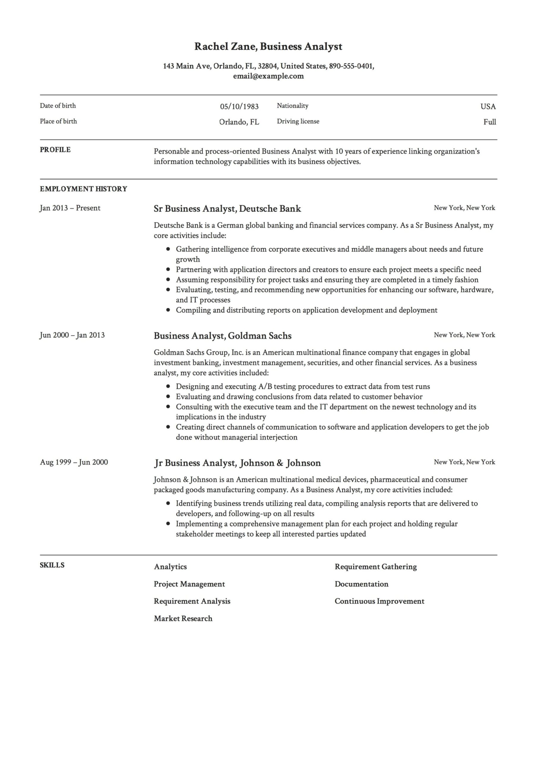business analyst resume guide templates pdf free downloads format for fresher sample Resume Resume Format For Business Analyst Fresher